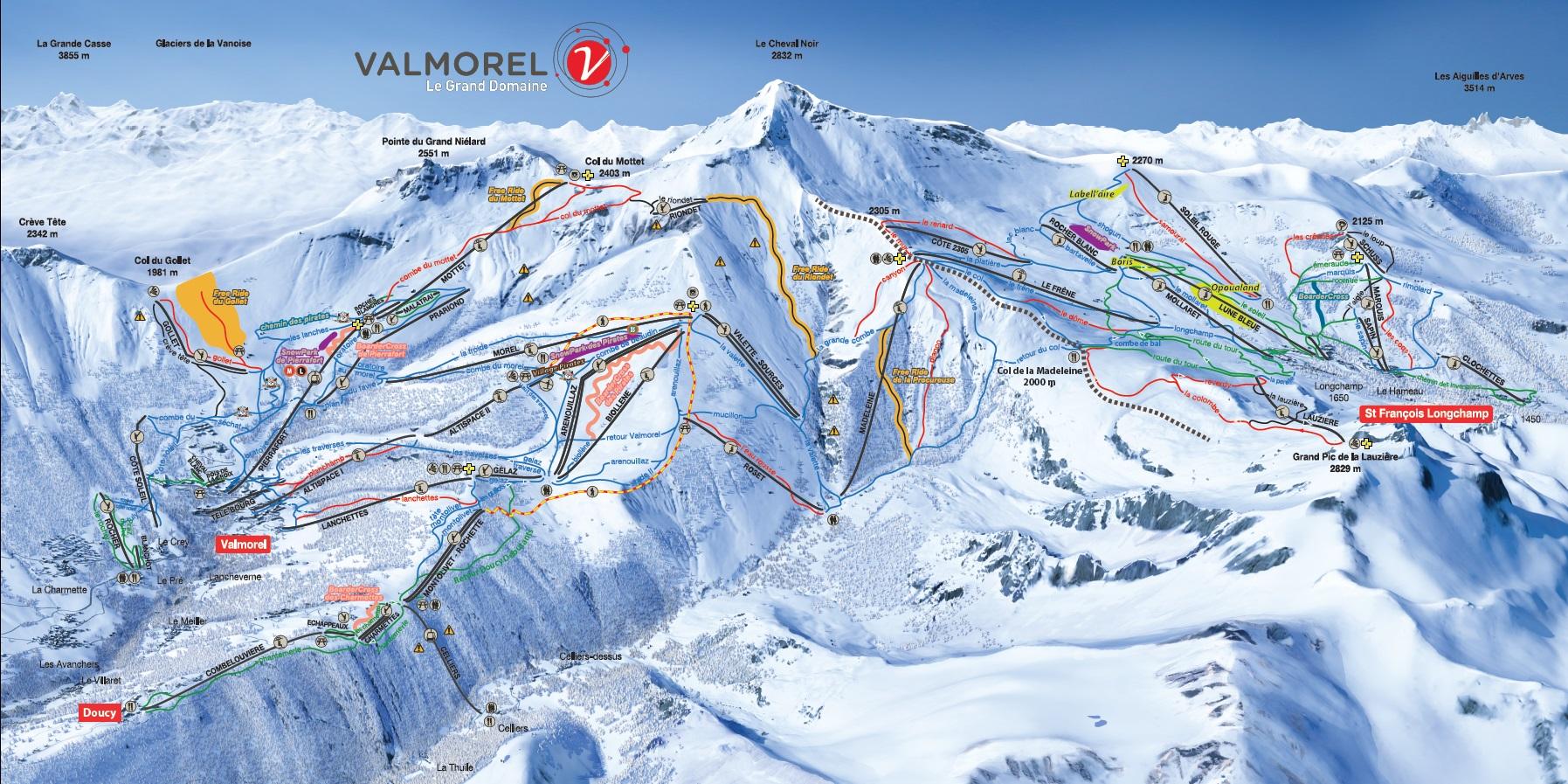 Plan des pistes Valmorel 2018-2019